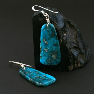 Traditional turquoise earrings by Harvey & Janie Chavez