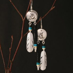 Bear track earrings by Harvey & Janie Chavez