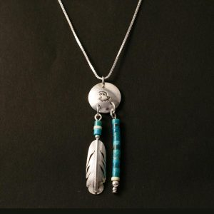 eagle feather pendant by H & J Chavez