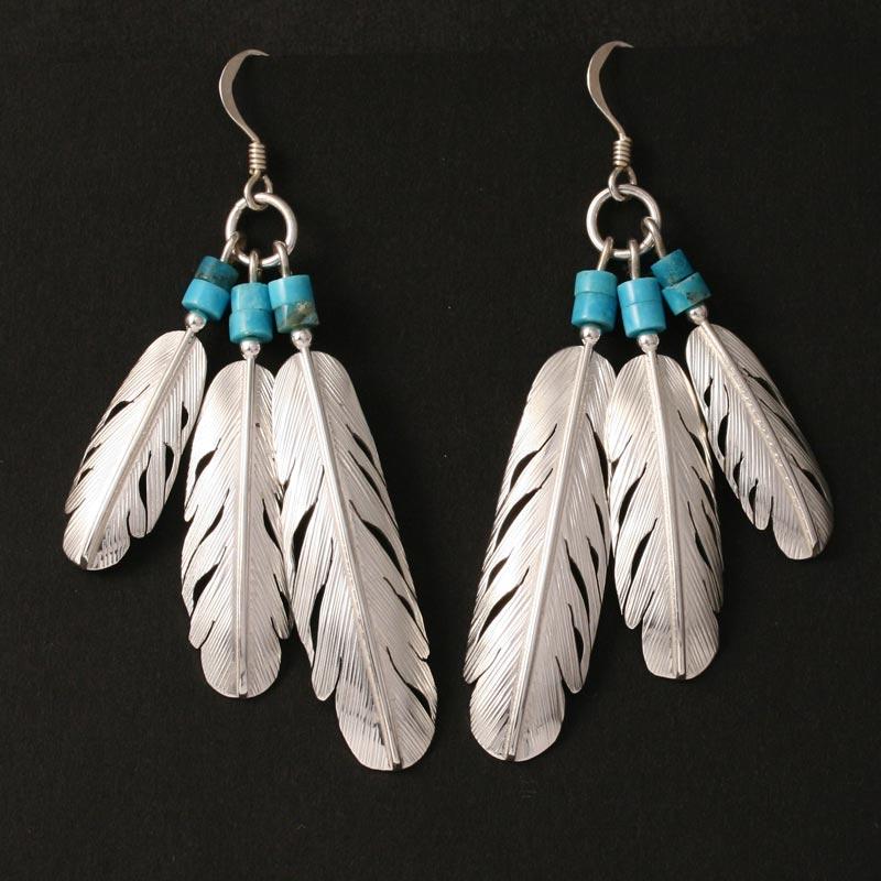 Feather fan earrings by H & J Chavez