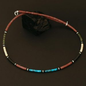 Pipestone heishi necklace by H & J Chavez