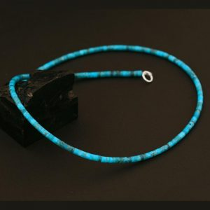 Turquoise heishi necklace by H & J Chavez