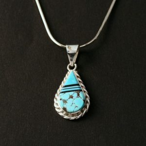 Turquoise drop pendant by Duran Gasper, Zuni