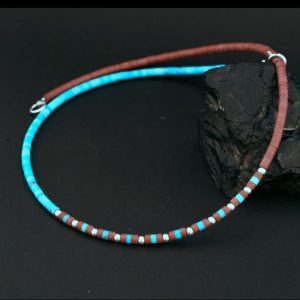 Pipestone & turquoise heishi necklace by Harvey & Janie Chavez