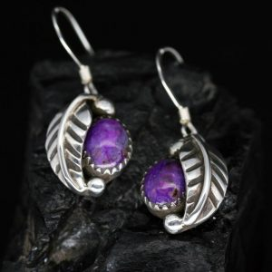 Sugilite Leaf Earrings by James Eustace