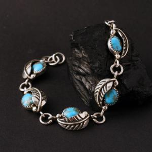 Turquoise Leaf Bracelet by James Eustace
