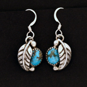 Turquoise Leaf Earrings by James Eustace