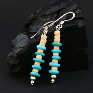 Melon Shell and Turquoise Earrings by H & J Chavez