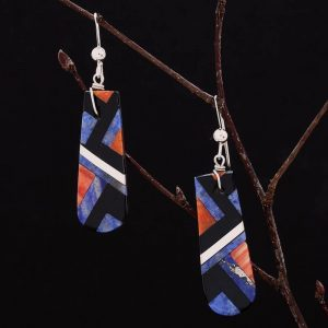 Lapis lazuli inlay earrings by Stephanie and Tanner Medina