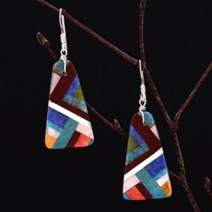 Lightning mosaic earrings by Stephanie and Tanner Medina