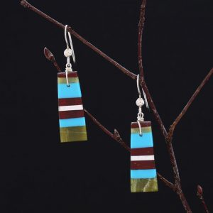 Striped earrings by Stephanie and Tanner Medina