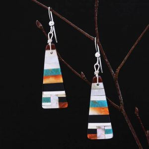 Stripe design earrings by Stephanie and Tanner Medina