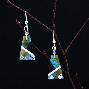 Pueblo mosaic inlay earrings by Stephanie and Tanner Medina