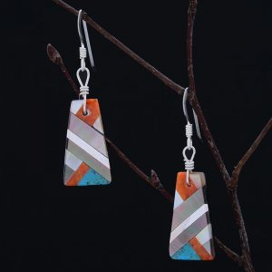 Small mosaic earrings by Stephanie and Tanner Medina