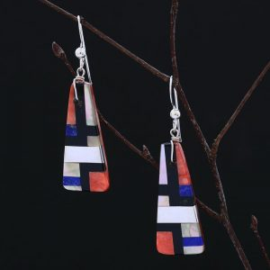 Mosaic inlay earrings by Stephanie and Tanner Medina
