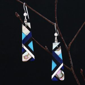 Blue inlay earrings by Stephanie and Tanner Medina