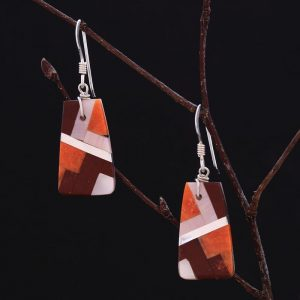 Pipestone inlay earrings by Stephanie and Tanner Medina