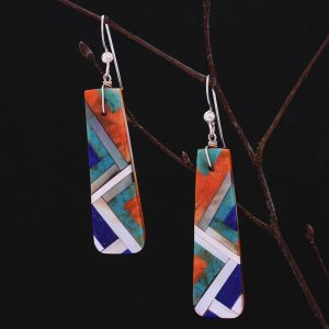 Large lightning earrings by Stephanie and Tanner Medina