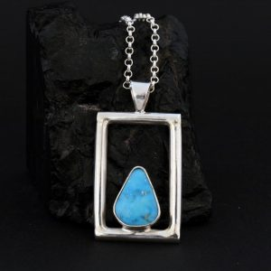 Easter Blue turquoise pendant by Janie Chavez