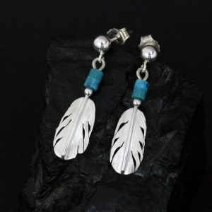 Little feather earrings with turquoise heishi