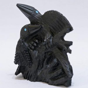 Ravens carved from black jet by Destry Suitza