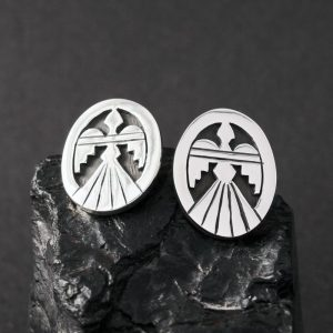 Peyote Bird Studs by Anthony Honahnie, Hopi