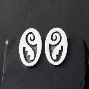 Hopi silver overlay oval studs by Anthony Honahnie