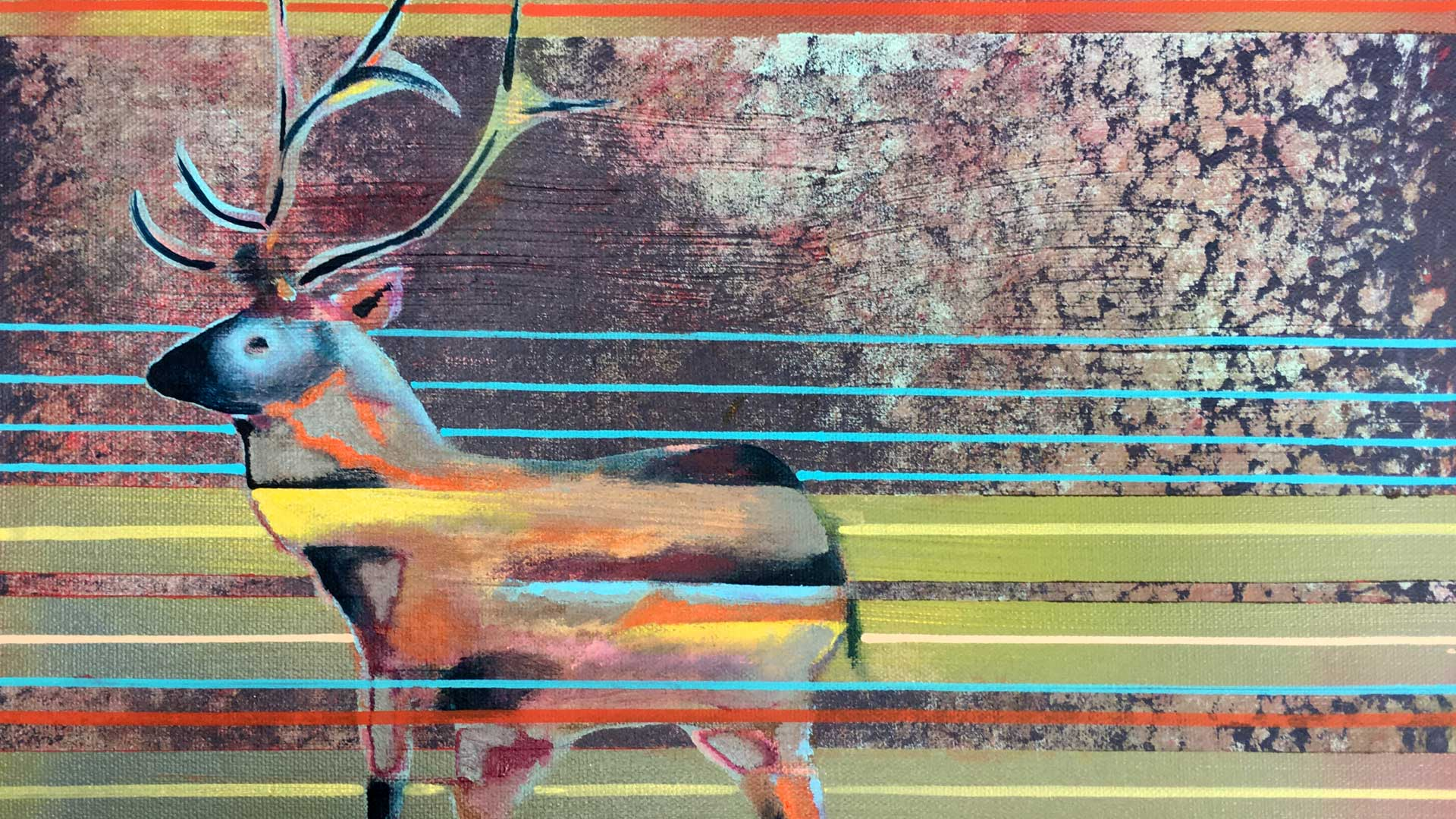 Issishto' (stag), acrylic on canvas by Billy Hensley