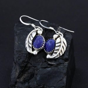 lapis lazuli & sterling silver leaf earrings by James Eustace, Cochiti Pueblo