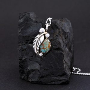 Sterling silver Leaf and Kingman Turquoise Pendant by James Eustace