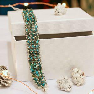 turquoise beadwork bracelet by Jennilee John, Navajo