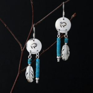 Buffalo Earrings with Feathers by H & J Chavez