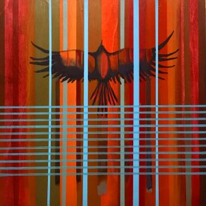 Fala' Ribbons (Crow), acrylic on birch wood panel by Billy Hensley, Chickasaw