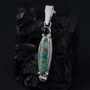 Morenci turquoise pendant by Joshua Concha, Taos Pueblo