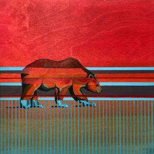 Blue Feet, acrylic on birch panel, by Billy Hensley, Chickasaw