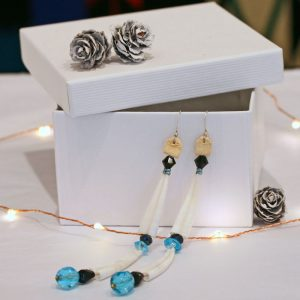 Dentalium shell earrings by Esther Belin