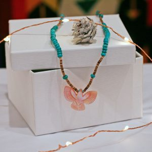 Eagle necklace by Vernon Lunasee, Zuni