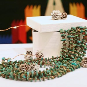 Multi strand green turquoise & olive shell necklace