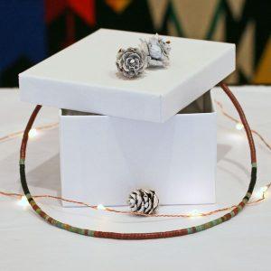 Pipestone & turquoise heishi necklace by Harvey & Janie Chavez