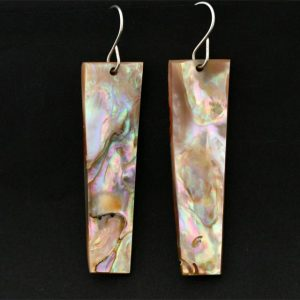 Red abalone earrings by Leah Mata, Chumash