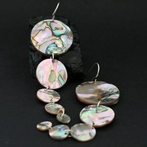 Red Abalone Circle earrings by Leah Mata, Chumash Nation, CA USA