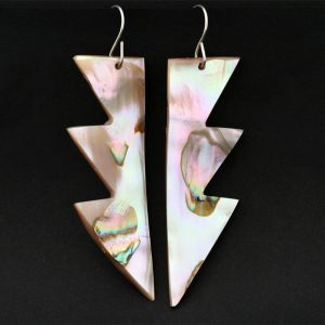 Red Abalone Chumash Earrings by Leah Mata