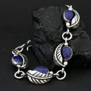 Leaf bracelet with lapis lazuli by James Eustace, Cochiti Pueblo.