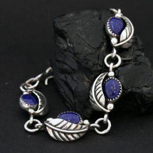 Leaf bracelet with lapis lazuli by James Eustace, Cochiti Pueblo.