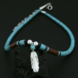 Native American Necklace with Feather by H & J Chavez