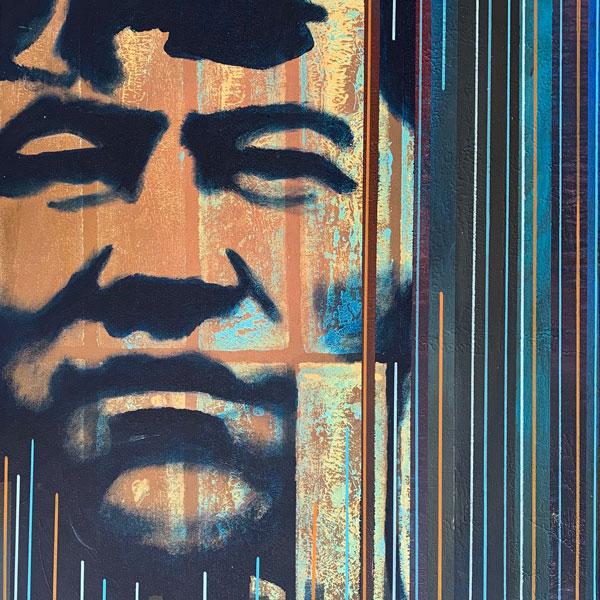 Jim Thorpe / Bright Path (detail) painted by Billy Hensley, Chickasaw.