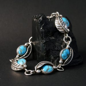 Leaf Bracelet with Turquoise by James Eustace