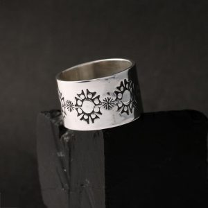 Stamped silver ring by Jennifer Medina