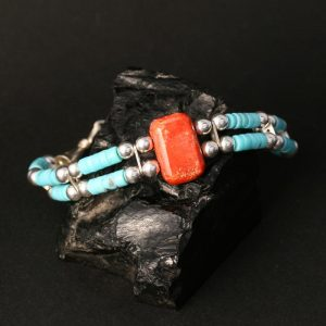 Turquoise & Coral Bracelet by Jonathan Garcia