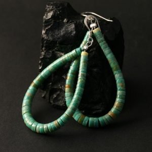 Green Heishi Earrings by Marcia Garcia
